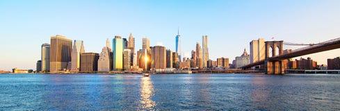 Горизонт Нью-Йорка панорамы Стоковая Фотография RF