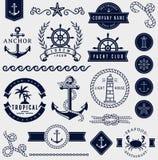 Θάλασσα και ναυτικά στοιχεία σχεδίου πολικό καθορισμένο διάνυσμα καρδιών κινούμενων σχεδίων Στοκ Εικόνες