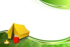 背景抽象绿色野营的旅游业黄色帐篷红色背包篝火框架例证传染媒介 免版税库存图片