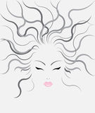 传染媒介在灰色背景的妇女发型 库存照片