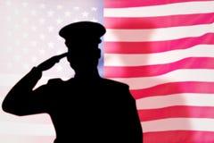 Составное изображение силуэта солдата Стоковое Фото