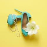 有花的美丽的妇女鞋子 库存图片