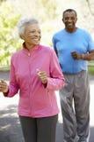 跑步在公园的资深非裔美国人的夫妇 库存照片