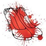 Эскиз с ботинками и красочным брызгом женщин Стоковое Фото
