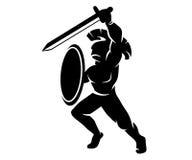 罗马剪影战士 免版税库存照片