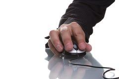 生意人现有量鼠标使用 免版税库存图片