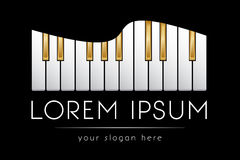 Шаблон логотипа, музыка, ключи рояля, вектор Стоковые Фотографии RF