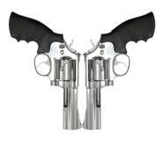 在白色背景隔绝的两把左轮手枪 免版税库存照片