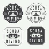 套潜水商标、标签和口号在葡萄酒样式 库存图片
