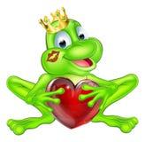 有冠和心脏的青蛙王子 免版税库存图片
