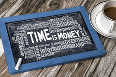 时间是与企业词云彩的金钱手写在黑板 免版税库存图片