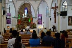 Наша дама католической церкви Тамильского языка Лурда в меньшей Индии Сингапуре Стоковое Фото