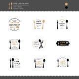 套商标餐馆和咖啡馆菜单的象设计签字 库存照片