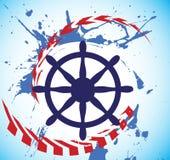 Αφηρημένη θάλασσα κινητήρια και τιμόνι του σκάφους Έμβλημα λεσχών γιοτ Στοκ Εικόνα