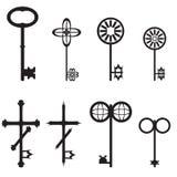 古色古香和现代钥匙,例证的汇集 免版税库存图片
