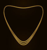 心脏形状美丽的金黄链子  免版税库存照片