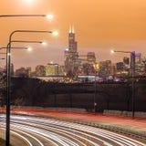 芝加哥街市地平线 免版税库存照片