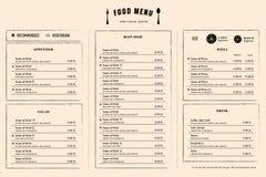 餐馆菜单设计与商标的模板布局 免版税库存照片
