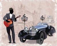 葡萄酒背景系列用减速火箭的汽车、音乐家、老镇视图和街道咖啡馆装饰的 库存照片