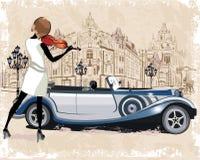 葡萄酒背景系列用减速火箭的汽车、音乐家、老镇视图和街道咖啡馆装饰的 免版税库存图片