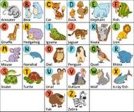 导航颜色与逗人喜爱的动物的动物园字母表在白色背景 图库摄影