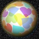 与彩虹心脏主题的浪漫幻想行星在与星系的背景担任主角 和平,爱,幸福,运气,福利的标志 免版税图库摄影