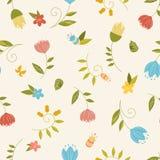 Άνευ ραφής σχέδιο με τα διακοσμητικά λουλούδια και τα φύλλα Στοκ Φωτογραφίες