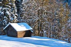 Сарай в снежном лесе Стоковые Изображения