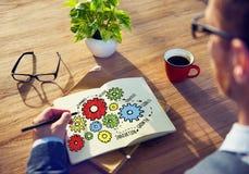 队配合目标战略视觉企业支持概念 库存图片