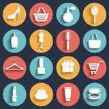 Мода, продажа и ходя по магазинам плоские значки Стоковые Изображения