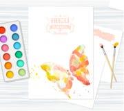 与美丽的水彩蝴蝶的明信片 免版税库存照片