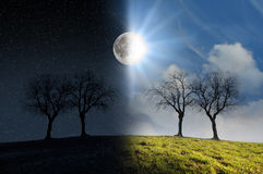 月光和阳光 免版税库存照片
