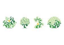 Φυσικό λογότυπο δέντρων, πράσινο διανυσματικό σχέδιο εικονιδίων συμβόλων απεικόνισης οικολογίας δέντρων Στοκ Φωτογραφία