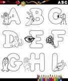 Χρωματίζοντας σελίδα αλφάβητου κινούμενων σχεδίων Στοκ Εικόνα