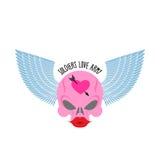 Λογότυπο, λογότυπο του στρατιώτη της αγάπης Ρόδινο κρανίο με τα μεγάλα κόκκινα χείλια Στοκ φωτογραφία με δικαίωμα ελεύθερης χρήσης