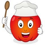 与厨师帽子的红辣椒字符 库存照片