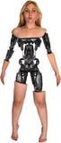 靠机械装置维持生命的人机器人机器人妇女被隔绝 图库摄影