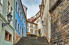 Старая улица городка в Праге Стоковое Изображение