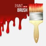 有水滴油漆的油漆刷 向量 库存图片