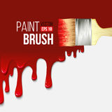 有水滴油漆的油漆刷 向量 免版税库存图片