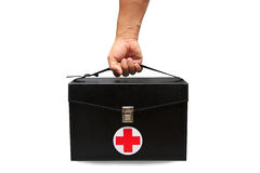 急救工具箱子在白色背景或被隔绝的背景中,急诊病例为支持医疗服务使用了援助箱子 免版税库存照片