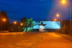 对布雷斯特堡垒在晚上,白俄罗斯的入口 库存图片
