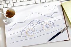 一辆梦想中的汽车的剪影幻想 库存照片