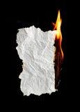 灼烧的纸张 免版税库存图片