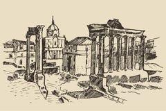 在罗马地标意大利的罗马广场废墟 库存图片
