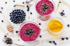 新鲜的莓果圆滑的人,奶昔,酸奶,装饰的点心磨碎了巧克力、蜂蜜和蓝莓 库存图片