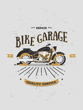 Логотип вектора винтажного мотоцикла ретро Стоковое Изображение RF