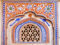 历史豪宅墙壁壁画在印度 库存照片