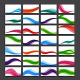 与曲线的套名片的淡色和横幅挥动 免版税库存照片
