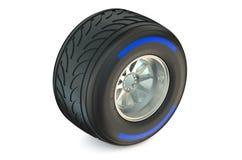 赛跑有湿轮胎的轮子 免版税图库摄影
